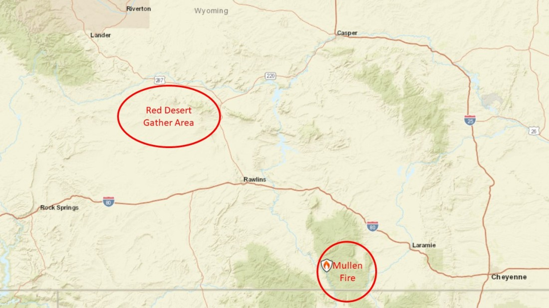 Mullen Fire and Red Desert Gather Map-1